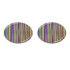 Striped Stripes Abstract Geometric Cufflinks (oval) by Amaryn4rt