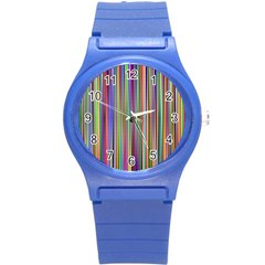 Striped Stripes Abstract Geometric Round Plastic Sport Watch (s) by Amaryn4rt