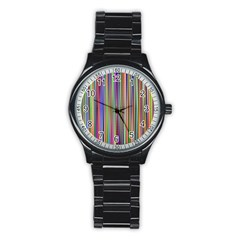 Striped Stripes Abstract Geometric Stainless Steel Round Watch by Amaryn4rt