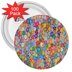 Sakura Cherry Blossom Floral 3  Buttons (100 Pack)  by Amaryn4rt