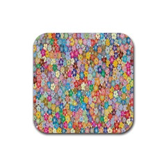 Sakura Cherry Blossom Floral Rubber Square Coaster (4 Pack)  by Amaryn4rt