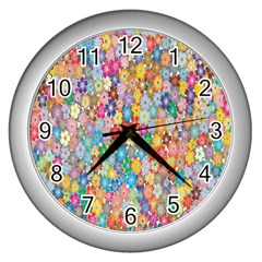 Sakura Cherry Blossom Floral Wall Clocks (silver)  by Amaryn4rt
