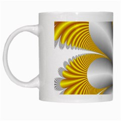 Fractal Gold Palm Tree  White Mugs by Amaryn4rt