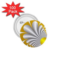 Fractal Gold Palm Tree  1 75  Buttons (100 Pack)  by Amaryn4rt