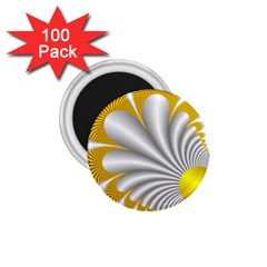 Fractal Gold Palm Tree  1 75  Magnets (100 Pack)  by Amaryn4rt