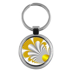 Fractal Gold Palm Tree  Key Chains (round)  by Amaryn4rt