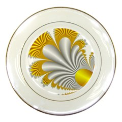 Fractal Gold Palm Tree  Porcelain Plates by Amaryn4rt