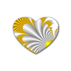Fractal Gold Palm Tree  Heart Coaster (4 Pack)  by Amaryn4rt