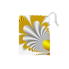 Fractal Gold Palm Tree  Drawstring Pouches (small)  by Amaryn4rt