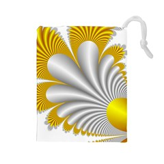 Fractal Gold Palm Tree  Drawstring Pouches (large)  by Amaryn4rt