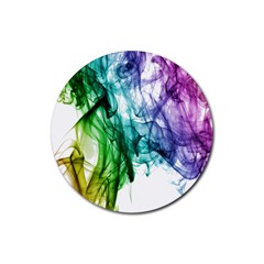 Colour Smoke Rainbow Color Design Rubber Coaster (round)