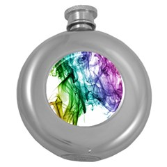 Colour Smoke Rainbow Color Design Round Hip Flask (5 Oz) by Amaryn4rt