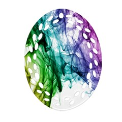 Colour Smoke Rainbow Color Design Oval Filigree Ornament (two Sides) by Amaryn4rt