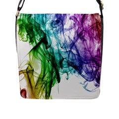 Colour Smoke Rainbow Color Design Flap Messenger Bag (l)