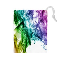Colour Smoke Rainbow Color Design Drawstring Pouches (large)  by Amaryn4rt