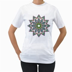Decorative Ornamental Design Women s T Shirt (white) (two Sided)