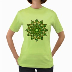 Decorative Ornamental Design Women s Green T Shirt