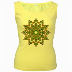 Decorative Ornamental Design Women s Yellow Tank Top
