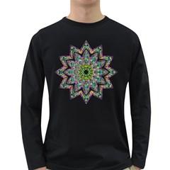 Decorative Ornamental Design Long Sleeve Dark T Shirts
