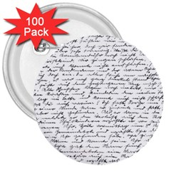 Handwriting  3  Buttons (100 Pack)  by Valentinaart