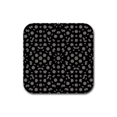 Dark Ditsy Floral Pattern Rubber Coaster (square)  by dflcprints