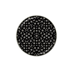 Dark Ditsy Floral Pattern Hat Clip Ball Marker by dflcprints