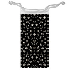 Dark Ditsy Floral Pattern Jewelry Bag by dflcprints