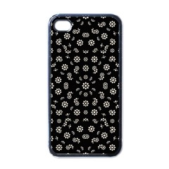 Dark Ditsy Floral Pattern Apple Iphone 4 Case (black) by dflcprints