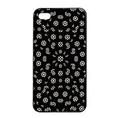Dark Ditsy Floral Pattern Apple Iphone 4/4s Seamless Case (black) by dflcprints