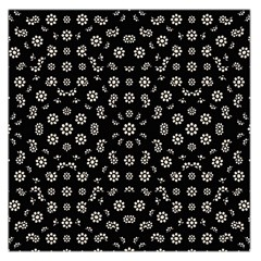 Dark Ditsy Floral Pattern Large Satin Scarf (square) by dflcprints