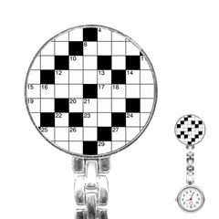 Crosswords  Stainless Steel Nurses Watch by Valentinaart