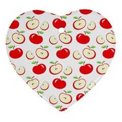 Apple Pattern Heart Ornament (two Sides) by Valentinaart
