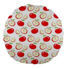 Apple Pattern Large 18  Premium Flano Round Cushions by Valentinaart