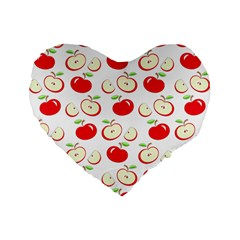 Apple Pattern Standard 16  Premium Flano Heart Shape Cushions by Valentinaart