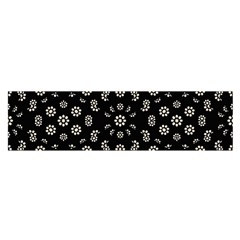 Dark Ditsy Floral Pattern Satin Scarf (oblong) by dflcprintsclothing