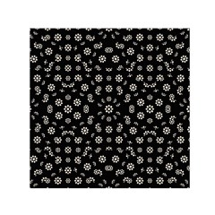 Dark Ditsy Floral Pattern Small Satin Scarf (square) by dflcprintsclothing