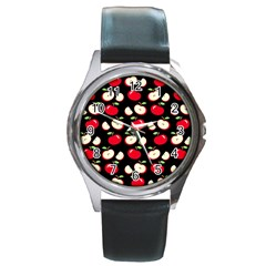 Apple Pattern Round Metal Watch by Valentinaart