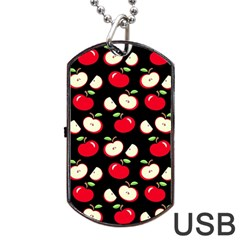 Apple Pattern Dog Tag Usb Flash (one Side) by Valentinaart