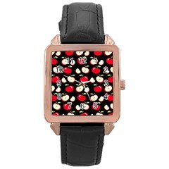 Apple Pattern Rose Gold Leather Watch  by Valentinaart