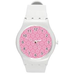 Pattern Round Plastic Sport Watch (m) by Valentinaart