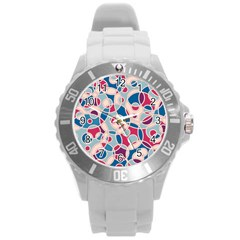 Pattern Round Plastic Sport Watch (l) by Valentinaart