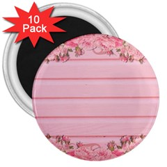 Pink Peony Outline Romantic 3  Magnets (10 pack)  by Simbadda