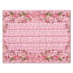Pink Peony Outline Romantic Rectangular Jigsaw Puzzl by Simbadda
