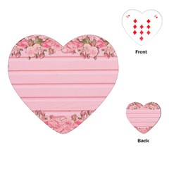 Pink Peony Outline Romantic Playing Cards (heart)  by Simbadda