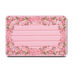 Pink Peony Outline Romantic Small Doormat  by Simbadda
