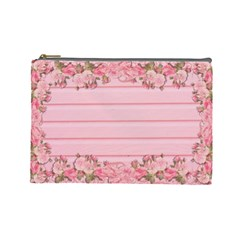 Pink Peony Outline Romantic Cosmetic Bag (large)  by Simbadda
