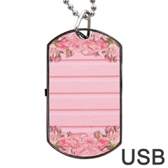 Pink Peony Outline Romantic Dog Tag Usb Flash (one Side) by Simbadda