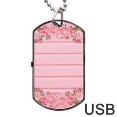 Pink Peony Outline Romantic Dog Tag Usb Flash (two Sides) by Simbadda