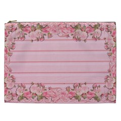 Pink Peony Outline Romantic Cosmetic Bag (xxl)  by Simbadda