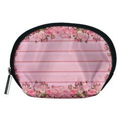 Pink Peony Outline Romantic Accessory Pouches (medium)  by Simbadda